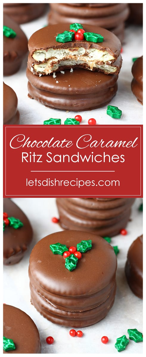 Chocolate Caramel Ritz Cracker Sandwiches