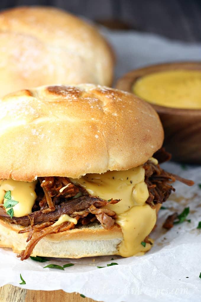 Slow Cooker Cheesy Barbecue Brisket Sandwiches