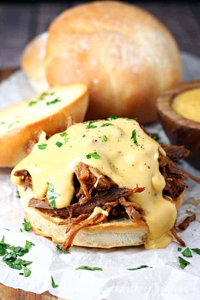 Slow Cooker Cheesy Barbecue Brisket Sandwiches