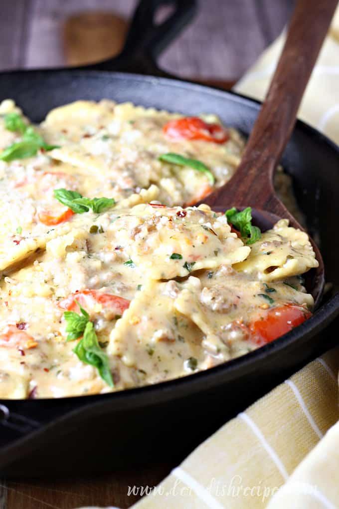 Creamy Sausage Pesto Ravioli