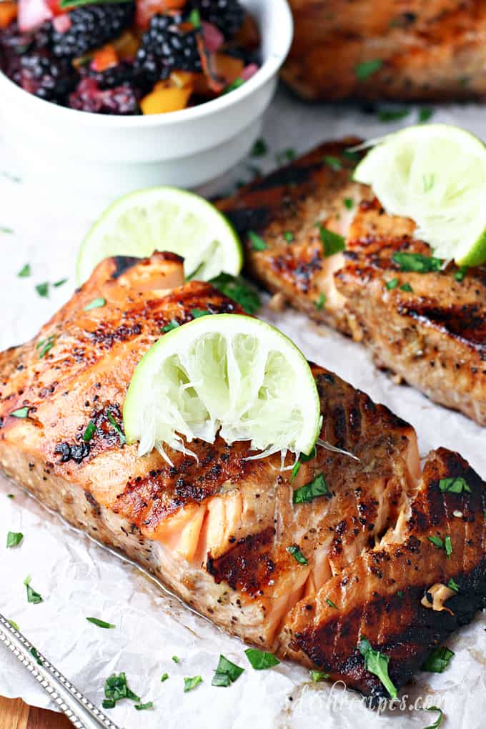 Grilled Salmon with Blackberry Bell Pepper Salsa