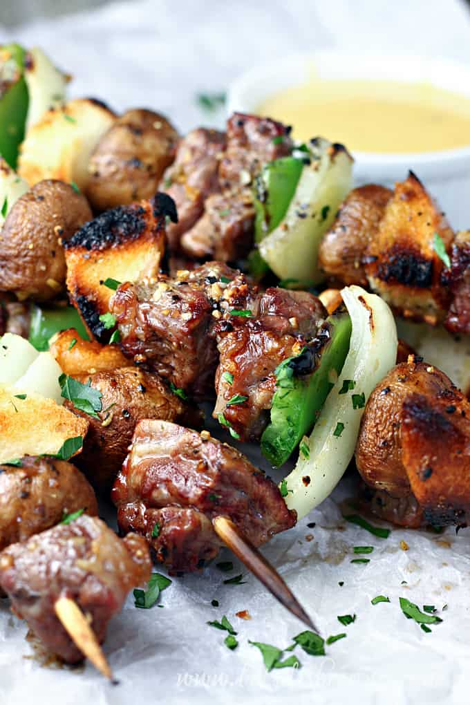 Grilled Philly Cheese Steak Kabobs