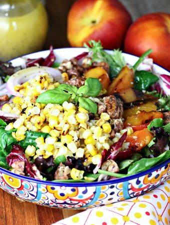 Grilled Corn and Peach Salad with Candied Pecans