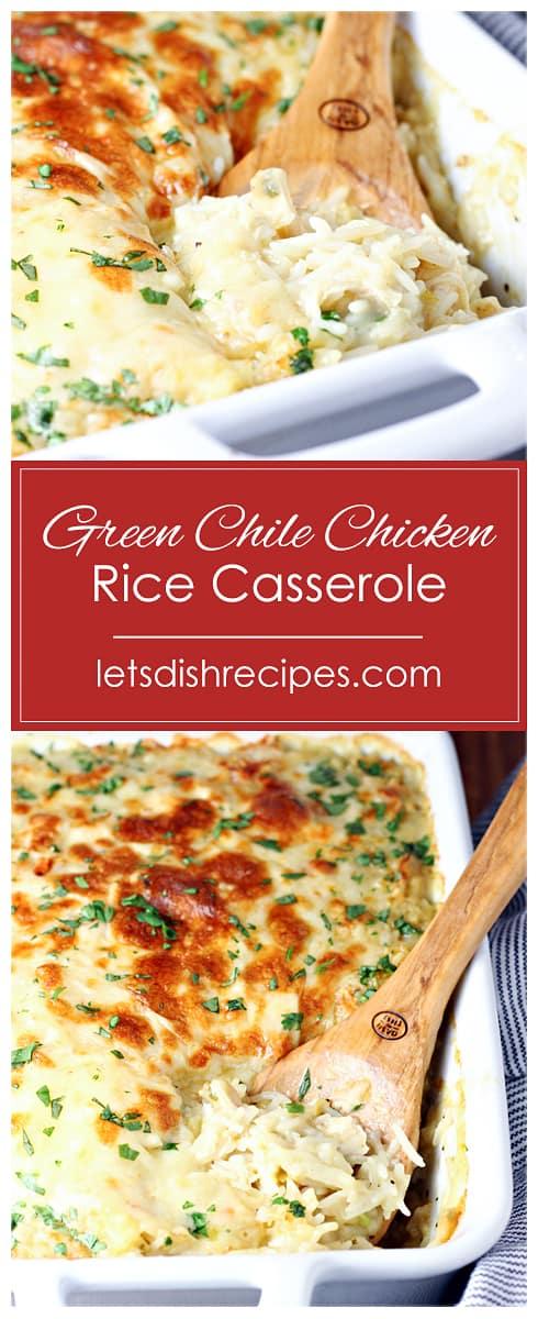 Cheesy Green Chili Chicken and Rice Casserole