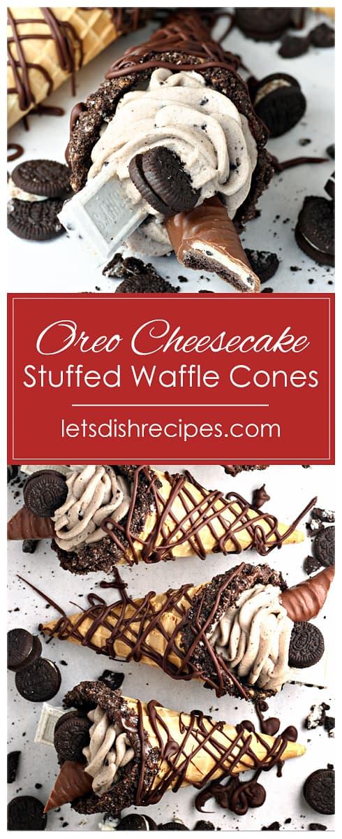 Oreo Cheesecake Stuffed Waffle Cones