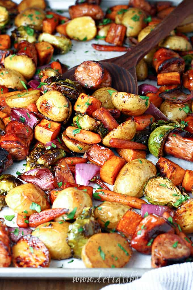 Maple Balsamic Roasted Chicken Sausage and Veggies